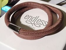 Endless Jewelry 36cm Brown Bracelet Double Strand Silver Clasp rrp £50