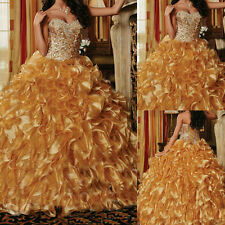 New Gold Quinceanera Dress Ball Gown Formal Prom Party Wedding Dresses Custom