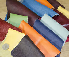 REAL Italian Leather COWHIDE OFFCUTS colourful RED GREEN BLUE 90g 0.8/1.1 MM