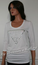 NEW Guess Macaria 3/4 Sleeve Knit Top White Size XS
