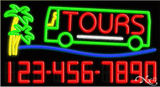 """NEW """"TOURS"""" W/YOUR PHONE NUMBER 37x20x3 REAL NEON SIGN W/CUSTOM OPTIONS 15111"""