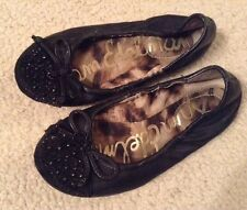 VGC! Girls Sam Edelman Black Studded/Rhinestone Beatrix Ballet Flats Sz 11.5M