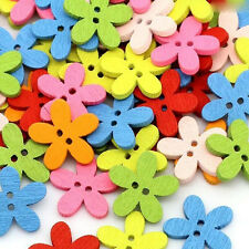 Hottest 100Pcs 15mm 2 Holes Mixed Flower Wooden Fit Sewing Decorative Buttons