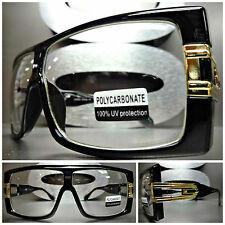 Men Women OVERSIZE VINTAGE RETRO Clear Lens EYE GLASSES Black Gold Fashion Frame