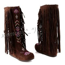 Fashion New Womens Boho Tassle Hidden Wedge Moccasin KNEE HIGH Boots Roman Shoes