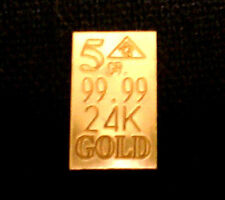 ACB Affordable 5GRAIN 24K SOLID GOLD BULLION MINTED BAR 99.99 FINE !