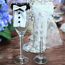 Creative BRIDE & GROOM Party Wedding Wine Glasses Lace Toasting Cover Decoration