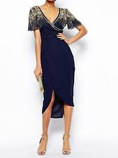 Virgos Lounge Julisa Wrap Midi Dress (B) - Navy - RRP £95.00 UK 6