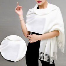 New Women Warm Cashmere Silk Solid Long Pashmina Shawl Wrap Scarf Tassel Stole