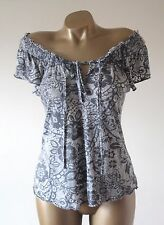 New Look Grey Soft Burnout Floral On Off Shoulder Top Tshirt Blouse 12