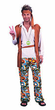Mens Hippy Flower Power 1970's Fancy Dress Costume Orange 70's Party Outfit New