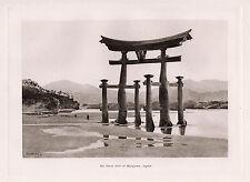 "SIGNED 1800s JOHN VARLEY Antique Print ""The Great Torii of Miyajima"" FRAMED COA"