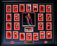 Jean Beliveau Montreal Canadiens Signed 8x10 frame with Montreal Cards