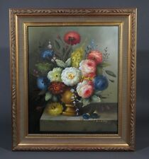 "Oil Painting on Canvas, ""Flemish Flowers"", Signed & Framed"