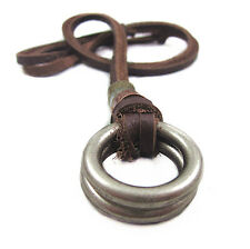 Mens Womens Ring Circle Vintage Pendant Genuine Leather necklace Charm Choker