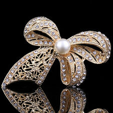 Bridal Bouquet Rhinestone Crystal Brooch Pin Gold Pearl Brooches Flower Bow Gift