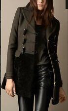 Burberry Amazing Rare Shearling Skirt Duffle Military Coat Sz UK 6 XS RRP £1450