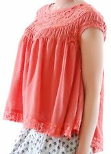 Free People Women Waldorf Waffle Heartthrob Cutout Top Watermelon Size XS BCF58