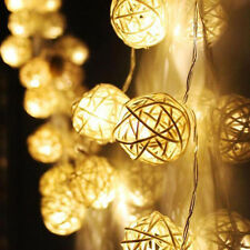 10 LED Color Rattan Ball String Fairy Lights For Xmas Wedding Party Christmas