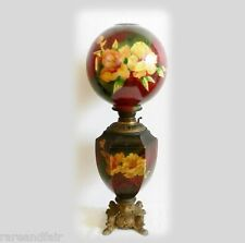 GWTW vintage tall oil table lamp with hand painted floral globes - FREE SHIPPING