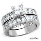 STUNNING PRINCESS CUT CZ STAINLESS STEEL WEDDING RING SET WOMEN'S SIZE 5-12