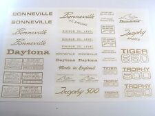 Waterslide decal sheet Triumph unit 500 650 Bonneville Daytona Tiger Trophy GOLD