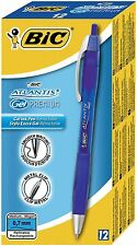 12 PENNE SFERA SCATTO BLU 0.7 mm ATLANTIS Gel Premium BIC RICARICABILE