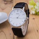 New Men Women Geneva Fashion Leather Analog Stainless Steel Quartz Wrist Watch