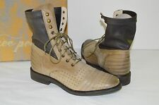 New $178 Free People Sounder Boot Lace Up Tan Brown Leather Boots 7/37 Vintage