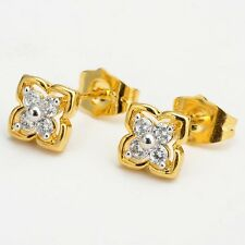 18k Yellow Gold Filled Womens Hoops Earrings Charms Jewelry Flower earstud
