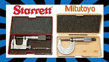 "Starrett 220 0-1"" and Mitutoyo 230 0-1"" Micrometers with case. FREE SHIPPING!"
