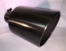 "5"" INLET, 7"" OUTLET, 15"" LONG BLACK CHROME DIESEL EXHAUST TIP FORD DODGE CHEVY"