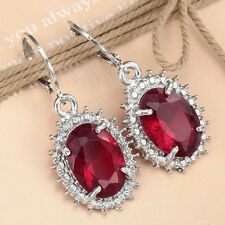 Women Fashion 925 silver Ruby Crystal Hoop Stud Dangle Earrings Wedding Jewelry
