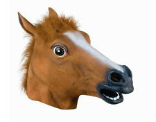 New Animal Costume Latex Funny Horse Head Mask Adult Fancy Dress Stag Hen UK