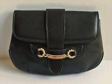 Gucci Vintage Black Leather Envelope Flap Gold Tone Horsebit Accent Clutch Purse