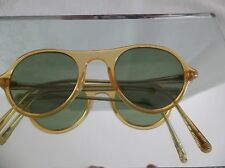 Retro Vintage  sunglasses Blonde G15 green glass lens Round  frames