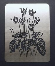 Cyclamen Winter Flower Stainless Steel Metal Stencil Template 11cm x 8cm