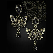 RESTYLE HAWKMOTH GOLD EARRING STUDS. NEW PRODUCT! GOTHIC. VICTORIAN. VINTAGE.