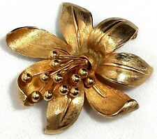 """Vintage Jewelry Brooch Pin Gold Tone Signed""""Pastelli""""Flower Rose Large  #909"""