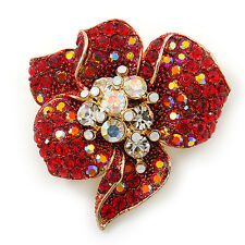 Red, AB, Clear Austrian Crystal Poppy Flower Brooch/ Pendant In Gold Plated Meta