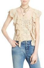 107348 New $98 Free People Shake Baby Shake Embroidered Ruffle Blouse Top XS