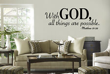 With God All Things Are Possible vinyl letters WALL QUOTE Decal sticker spirtual