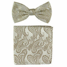 New formal Men's micro fiber Pre-tied Bow Tie & Hankie champagne Beige paisley