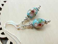 Mini Easter Egg Earrings Cloisonne Turquoise Blue Cherry Blossoms Faux Faberge