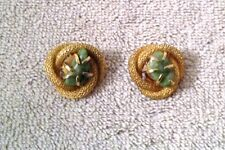 Vintage B.S.K. Earrings Braided Rope Gold Tone With Green Earth Stone Very Nice