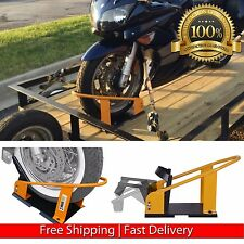 Motorcycle Wheel Chock Tire Stand Mounts Securely To Floor Truck Or Trailer NEW