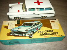 TN NOMURA JAPAN RED CROSS AMBULANCE FORD STATION WAGON MODEL TIN TOY CAR
