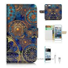 iPod Touch 6 iTouch 6 Flip Wallet Case Cover! S8500 Abstract Flower