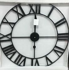 LARGE Skeleton Cut Out Black Metal Roman Numeral Wall Clock NEW Kitchen 60cm