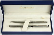 Waterman Hemisphere 10 Fountain & Ballpoint Pen Set Stainless Steel Chrome Trim